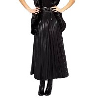 Faux Leather Pleated Aline Midi Skirt With Back Zipper