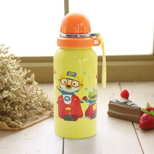 ★Pororo stainless Water bottle-Yellow★ food strage /korea character / Stainless Steel / picnic /...