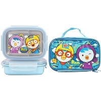 ★Pororo stainless Lunchbox and bag★ Made in Korea / food strage /korea character / Stainless Steel ...
