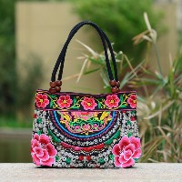 Fashion Handbags Flower Embroidered Bags Women National Wind Casual Canvas Women Shoulder Bolsa