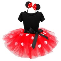 Newest Kids Gift Minnie Mouse Party Dress Fancy Costume Cosplay Girls Minnie Dress+Headband 9M-6Y
