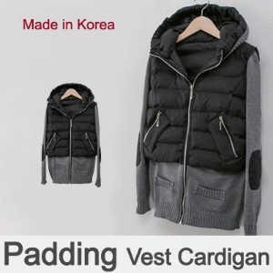 [something]Padding Vest Knit Cardigan ★ Direct From Korea/High Quality/Women Cardigan
