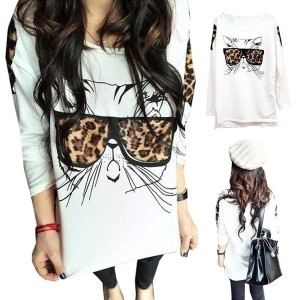 Fashion Leopard Bespectacled Cat Crew Neck Long Sleeve T-Shirt Tops Blouse