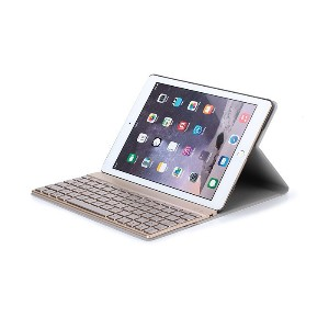 For iPad Air 2 Detachable 7 Colors Backlight Backlit Wireless Bluetooth Keyboard + Ultrathin PU...