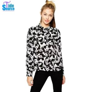 New 2016 Autumn Fashion Cute Contrast Color Tops Panda Printed Long Sleeve Casual Shirt Women...