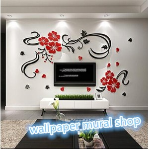 Acrylic Material DIY Wall Sticker*Wall Decals Happy Flower rattan Home Decoration for Bedroom/Living