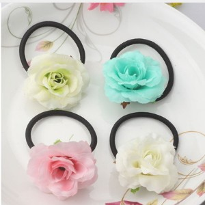 Hot Sale Summer Style Fabric Wraped Ponytail Holder Flower Children Hair Accessories Beauty Scrunchy
