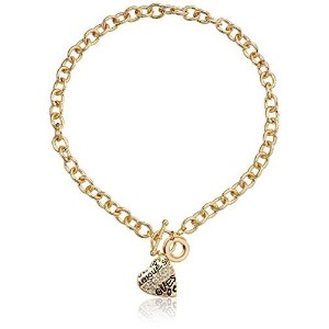 GUESS Basic Gold and Crystal Graffiti Heart Toggle Pendant Necklace