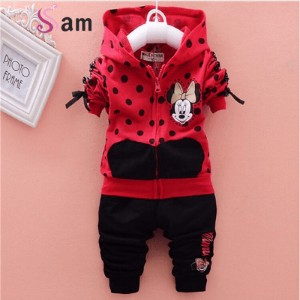 baby girls clothing sets cartoon minnie mouse winter childrens wear cotton casual tracksuits kids...
