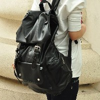 Men Extra Large Backpack Pu Leather Rucksack School Satchel Travel Bag