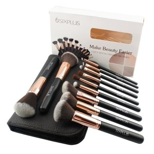 [with secret free gift] Sixplus 11 Pcs Royal Golden and Black Handle Sythetic Fiber Brush Set with...