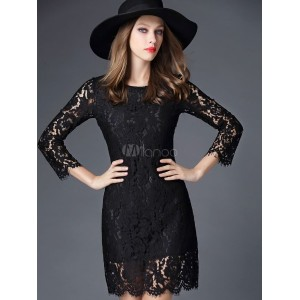 Black Lace Chic Bodycon Dress for Women