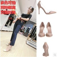 Autumn transparent pointed high heels shallow mouth thin heel sexy sexy shoes female fashion color...