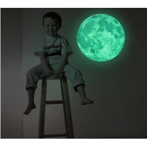 Creative luminous children bedroom bedroom bed luminous lunar stereo 3D wall stickers home...