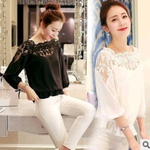 summer plus size women casual chiffon lace blouse version loose three-quarter sleeves blusa...