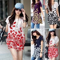 Women s Fashion Casual Loose Floral Tunic Dresses Flower Printed O-neck Short Sleeves One Piece...