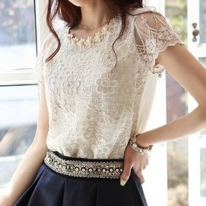 Hot Spring Fashion Women Blouse Short Sleeve Casual Shirt Lace Top Pearl Collar Clothing Size S-XXL