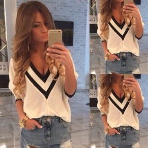 Fashion Lady s Loose Cotton V-Neck Tops Shirt Casual 3/4 Sleeve Blouse