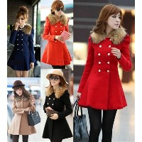 New Fashion Women s Winter Overcoat Long Coat Outwear Slim Fit Fur collar Long Sleeve Double...