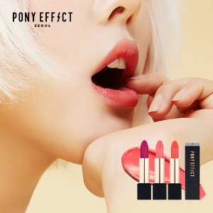PONY EFFECT Outfit Velvet Lipstick 10 Colors Collection / Silky Texture / Semi Matt Lip Color /...