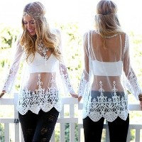 Boho Summer Beach Sexy Lace Crochet Long Sleeve Dress