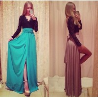 Womens Sexy Long Dresses lace parttern High Slit Maxi Evening Gown Cocktail