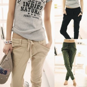 New Womens Pure Color Pants Long Loose Casual Small Leg Opening Trouser 3 Colors
