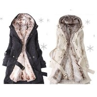 Women s Winter Coat with Faux Fur Ling 2 in 1 Hood Fur Parka Overcoat Long Jacket ** Asian Size**
