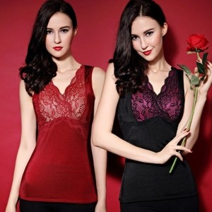 Winter women Sexy Lace Thick Waist Cincher Corset Warm V Neck Thermal Underwear? Vest Shapewear