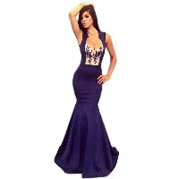 New Womens Ladies Sleeveless Slim Fitting Backless PartyClub Evening Blue Long Mix Dress Gown (...