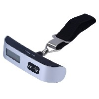 50kg/10g T-Shaped LCD Backlight Digital Hanging Luggage Scale Travel Weight Black & silver