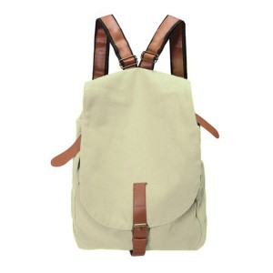 Women Vintage Canvas Travel Backpack (White)