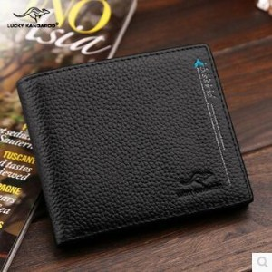 Men s wallet men s short paragraph Genuine leather wallet genuine business first layer of leather...