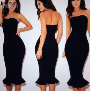 New Fashion Evening Party Dresses 2015 summer women sexy club bandage bodycon dress slim slash neck...