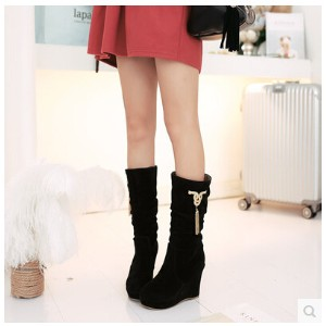 2016 autumn and winter in the new boots in the slope with the womens high-heeled shoes snow boots...