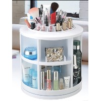 Home Plastic White Round Rotation Cosmetic Organizer Drawer Makeup Storage Holder New