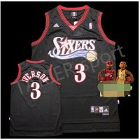 NBA 76ers classic retro version of the 3rd General Iverson Iverson basketball jersey black dress