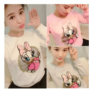 WY/RS/2015 new spring Korean cartoon bead T-shirt sleeve head inside add cashmere all-match warm...