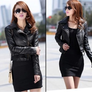 Womens Winter Slim Biker Motorcycle PU Soft Leather Jacket Zipper Coat