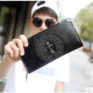 New rivets clutch bag retro trend wallet rivets personality long money wallet men and women clutch...
