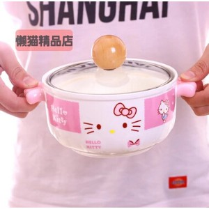 hello kitty cute Japanese cartoon tuba ceramic soup bowl with lid microwave bowl of instant noodles