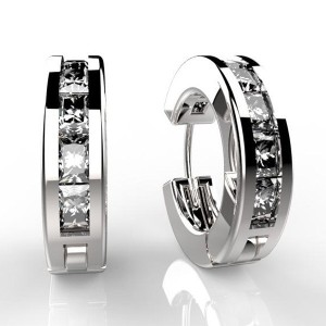 WHITE GOLD Plated Hoop Earrings DIAMOND cz