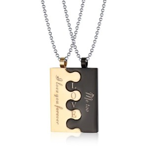 Stainless Steel Square Tag Puzzle Couple Pendant Necklace for Lover Valentine Promise Free Chain