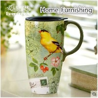 Evergreen Love Green house creative water cup large capacity coffee mug with lid ceramic cup car