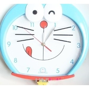When Doraemon cartoon watches quartz wall clock mute creative decorative bell hung living room...