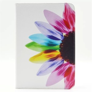 For Apple Ipad Mini 1 2 3 Case、Colorful Flower Synthetic Leather Flip Holder Support Case Wite Soft...