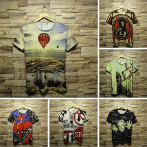 T-shirts/Hip hop/Graffiti/3D printing/High-quality/short sleeve/unisex/for couples/