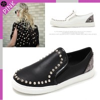 MITSH0001-9999-2 foot snake pattern combination cushioned heel studs slip-on shoes with rubber sole...