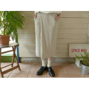evam eva(エヴァムエヴァ) cotton linen wrap skirt(V171T942)