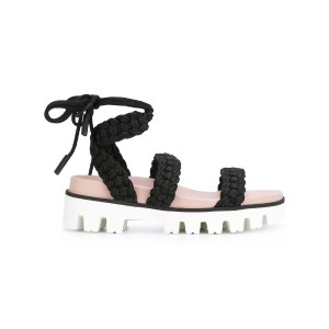 Red Valentino - lace-up sandals - women - コットン/レザー/rubber - 38